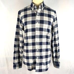 Slim oxford shirt long sleeve button plaid blue XS
